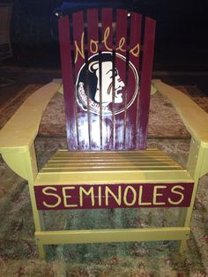 Hand-painted wooden adirondack chair FSU Seminoles, Florida State