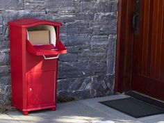 Package Mailbox, Elephantrunk from Architectural Mailboxes.  like a mailbox, but it's a secure drop box designed specifically to  accept packages. $299