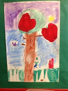 Kindergarten Artist  Apple Print and Pastel Drawing