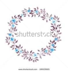 Floral Wreath With Cute Flowers And Leaves. Watercolor Hand ...