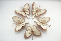 Set of 5 Butterfly Wings Clothes Pins Rustic Wedding Burlap