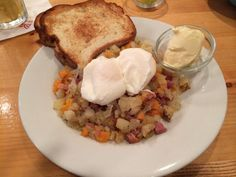 Sweet Potato Hash with Poached Eggs and Udi's Toast & Earth Balance Vegan Margarine at Olivia's at Old Key West #glutenfree #dairyfree #foodallergy #disney Dairy Free Options, Dairy Free Recipes, Sweet Potato Hash, Gluten Free Breakfasts, Poached Eggs, Food Allergies, Key West, Glutenfree, Key West Florida