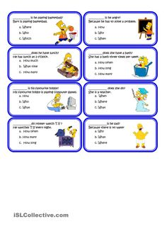 It's this second set with wh questions with the simpsons. They have to choose the correct answer. In this second set there is a total of 24 cards to make your. Teaching English, Learn English, English File, English Class, English Prepositions, English Vocabulary, Grammar Anchor Charts, English Worksheets For Kids, Grammar Activities