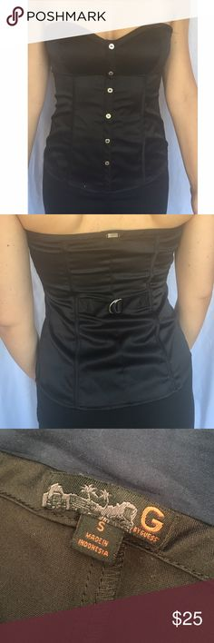 Sleek Black Strapless Top Black strapless top G by Guess Tops