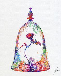 Excited to share the latest addition to my #etsy shop: Beauty and The Beast, Enchanted Rose, Live Forever Rose, Rose in a Glass Dome, Belle Rose, Watercolor, Disney Fine Art, Nursery Art Item356