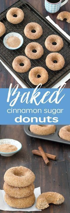 You're going to love these baked cinnamon sugar donuts. They are moist, soft, fluffy and just bursting with warm, comforting flavors like cinnamon and nutmeg(Fluffy Bake Donuts) Mini Desserts, Delicious Desserts, Oreo Dessert, Breakfast Recipes, Dessert Recipes, Breakfast Muffins, Baked Doughnuts, Baked Donut Recipes, Homemade Donuts