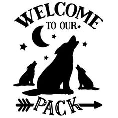 Silhouette Design Store: Welcome To Our Pack - Wolf Design Wolf Silhouette, Silhouette Design, Wolf Stencil, Wolf Clipart, Wolf Kids, Welcome Images, Wood Burning Stencils, Welcome Home Parties, Sunflower Kitchen Decor