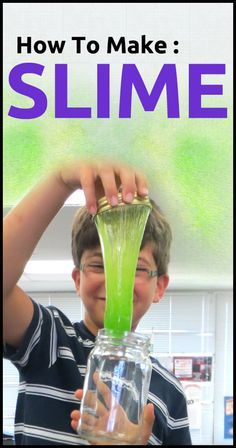 Make home-made green slime. Simple DIY recipe for making slime with borax and a few other common kitchen supplies. Totally safe. Check it out at tinkingtechy.com