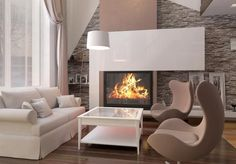 1-perete cu semineu living modern placat cu piatra naturala Style At Home, Home Fashion, Sweet Home, House Styles, Living Modern, Home Decor, Anastasia, Google, Exterior