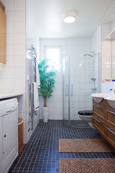 like the layout with the washer and dryer in the bathroom. Don't like the tile, colour or shape of the shower though