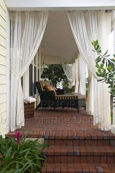 Front porch curtains, outdoor curtains for patio, outdoor curtain rods, privacy curtains, Outdoor Drapes, Outdoor Rooms, Outdoor Living, Outdoor Decor, Outdoor Patios, Outdoor Kitchens, Outdoor Fabric, Front Porch Curtains, Privacy Curtains