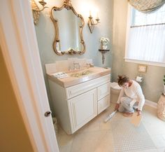 My passion for small spaces is exceptional, and the half bath is no exception. The half baths are the smallest rooms in my home. One in particular is located on the main floor midway between the front and rear of the house.