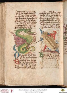 La constelación del Dragón. Eberhard Karls Universität Tübingen. Md 2: Md 2 Tübinger Hausbuch: Iatromathematisches Kalenderbuch ; die Kunst der Astronomie und Geomantie (Württemberg, [15. Jh.])