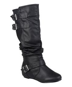 Journee Collection Black Cammie Wide-Calf Boot   zulily