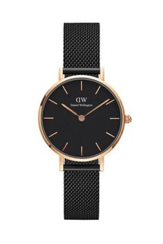 Buy Daniel Wellington Women's Classic Petite Ashfield Mesh Bracelet Strap Watch, Black/Silver from our Women's Watches range at John Lewis & Partners. Daniel Wellington Watch Women, Daniel Wellington Classic Petite, Bracelet Nato, Bracelet Cuir, Elegant Watches, Stylish Watches, Casual Watches, Dw Watch, Dream Closets