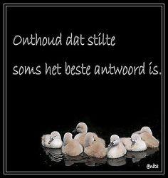 ..Onthoud dat stilte soms het beste antwoord is.