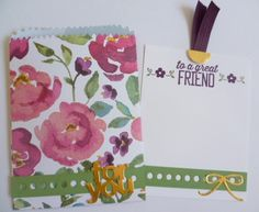 Stampin' Up! Mini Treat Bag Gift card with Painted Blooms DSP. https://astampingjourney.wordpress.com/2015/03/02/painted-blooms-mini-treat-bag/