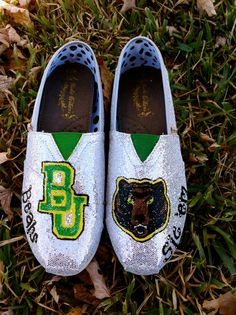 Glitter Baylor TOMS by Something2Braggabout on Etsy, $120.00