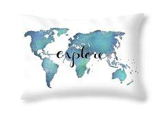 Items similar to Explore Pillow Quote Pillow - World Map Decor Travel Pillow - Aqua Pillow with Words - Decorative Throw Pillows - Teal Pillow Dorm Pillows on Etsy Dorm Pillows, Teal Throw Pillows, Velvet Pillows, Aqua Decor, World Map Decor, Cute Paintings, Map Wall Art, Map Artwork, Pillow Quotes