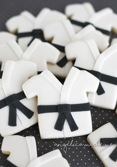 Martial Arts / Black Belt sugar cookies. Hand decorated entirely with black and white royal icing.