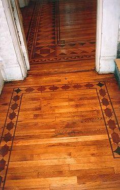 Wood Floor Faux Inlay Boarder Stencil