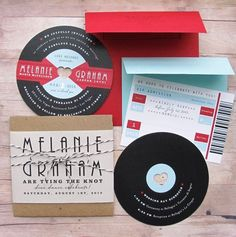 Collection of music themed invitation ideas.