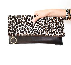Leopard Leather Clutch Cheetah Fold Over Clutch by gmaloudesigns