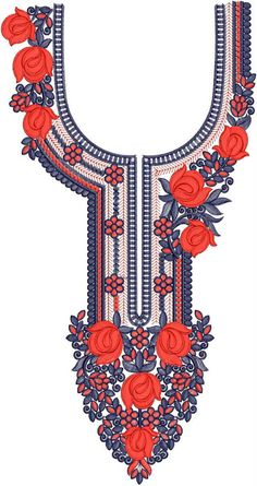 Latest Neck Designs for Kurtis / Dress / Suit / Men's Neck Download Embroidery Design File in .EMB Format New Embroidery Designs, Embroidery Works, Embroidery Suits, Embroidery Patterns, Hand Embroidery, Kurti Neck Designs, Dress Neck Designs, Brother Pe Design, Suit Men