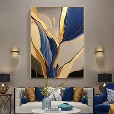 Large Abstract Painting, Original Blue Beige painting Abstract art, Minimalist Abstract painting Gold painting Large wall canvas painting