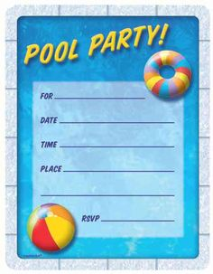 Summer Pool Party Die-Cut Invitations | 50ct