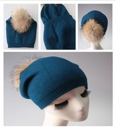 ff1be4f7c3974 Woman Cashmere Wool Hat with 7   Real Fur Pompon Winter Warm Knitted Hat  Beanie