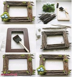 For individuals who need to make a body from dry tree branches, this re . Twig Crafts, Driftwood Crafts, Frame Crafts, Diy Home Crafts, Nature Crafts, Garden Crafts, Creative Crafts, Tree Branch Crafts, Tree Branches