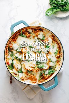 One-Skillet Weeknight Lasagna (The Easiest Homemade Lasagna You'll Ever Make) Gluten-Free - Live Simply Healthy Pasta Recipes, Healthy Pastas, Real Food Recipes, Gf Recipes, Free Recipes, Easy Recipes, Healthy Food, Yummy Food, Easy Homemade Lasagna