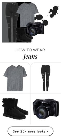 """""""ripped jeans big dreams"""" by originalvisionary on Polyvore featuring Topshop, T By Alexander Wang and UGG Australia"""
