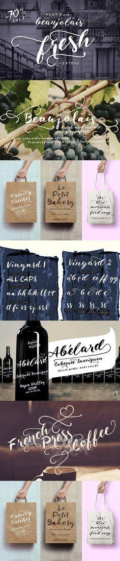 Beaujolais font pair + extras -70%. Script Fonts. $12.00
