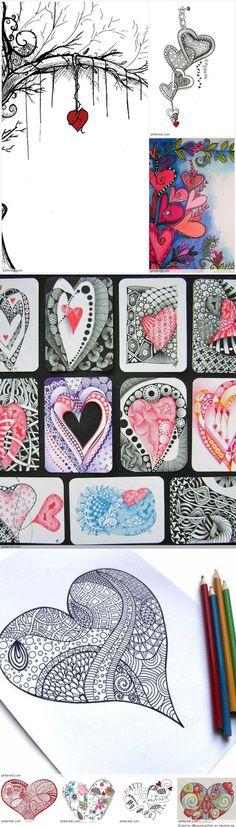 Zentangle Valentine's Day Ideas Valentines Day Drawing, Valentines Art, Doodles Zentangles, Zentangle Patterns, Zen Doodle, Doodle Art, Tangle Art, Flower Doodles, Zen Art