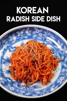 Mu means radish and Saengchae means fresh, raw & thin. I've shared a lot of banchan recipes already, but seems like food Korean Radish Side Dish Banchan Recipe, Side Dish Recipes, Asian Recipes, Healthy Recipes, Ethnic Recipes, Chinese Recipes, Chinese Food, Vegetarian Recipes, Korean Recipes