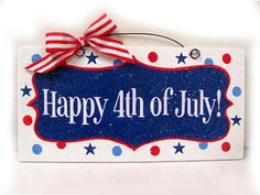 4th of July sign with glitter. by DiamondDustDesigns on Etsy, $13.00