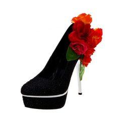 Women's Sparkling Glitter Stiletto Heel Closed Toe Platform Pumps With Flower