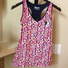 NWT. EXERCISE TANK TOP Bright & Beautiful Med Support Bra Tank. The colors make you want to get up & move it Baby💃Has a darling cut out in back. Colors are Navy Blue, Hot Pink & Orange. XERSION Tops Tank Tops