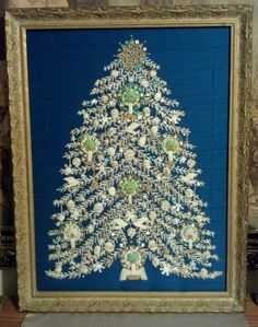 "Framed Vintage Needle Point Christmas Tree Art Jewelry Tree 27""×21"" Jewelry"