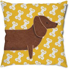 On 20 Off Dachshund and Dog Bones Throw Pillow ($19) ❤ liked on Polyvore featuring home, home decor, throw pillows, black, decorative pillows, home & living, home décor, dog home decor, inspirational home decor and dog throw pillows