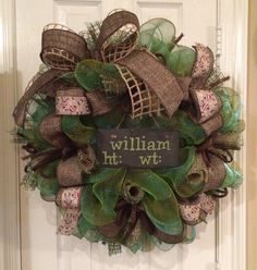 Beautiful wreath featuring green/brown stripe mesh, green oasis mesh lined with burlap and heavy weight fabric ribbon. Made with 16 diameter