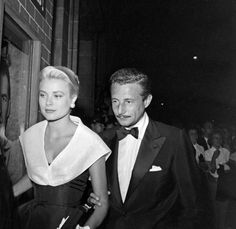 "royalwatcher: "" Grace Kelly, later Princess Grace of Monaco, being escorted by Oleg Cassini to the premiere of ""Rear Window"" (1954) """