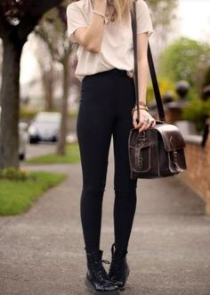 c6d6857cf49 High waisted jeans with casual boots made to look elegant with a  contrasting smart t-shirt and satchel bag.