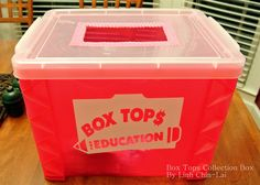 """I made this Box Tops Collection box for my daughter's school.  Hope it will get lots of """"deposits""""!"""