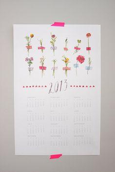 マスキングテープアイディア、押し花カレンダー。  Washi Taped Flowers watercolor print Calendar