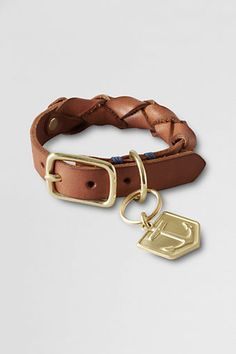 Lands' End Leather Dog Collar. Anchor charm can be engraved. So doggy chic!