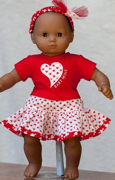 Bitty Baby Valentine Outfit Skirt Tshirt by OriginalsByGaby, $18.95