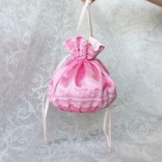 Pink satin pompadour purse evening handbag wristlet drawstring reticule by… White Cotton, White Lace, Pompadour, Pink Satin, Lolita Fashion, Drawstring Backpack, Delicate, Handbags, Purses
